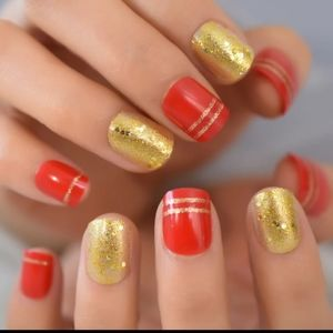 Short length red and gold press on nails